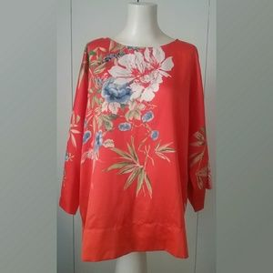 Soft Surroundings Asian Floral Flowing Top